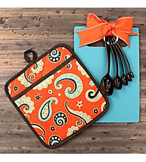 Aqua and Coral Paisley Kitchen Essentials #48844