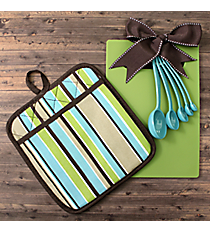 Aqua, Green, and Brown Stripes Kitchen Essentials #48851