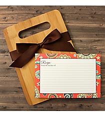 Coral Paisley Bamboo Cutting Board Gift Set #48899