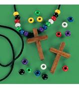 1 Dozen Wood Cross Faith Necklace Craft Kits #48/2290