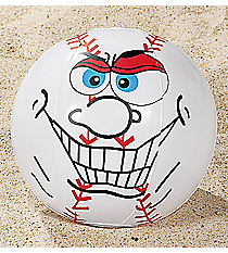 12 Inflatable Crazy Face Baseball Beach Balls #49/387