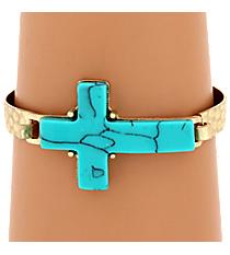 Turquoise Stone Cross Goldtone Hook Bracelet #7920B-GD