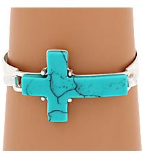 Turquoise Stone Cross Silvertone Hook Bracelet #7920B-SL