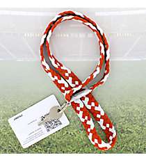 Burnt Orange and White Pomchies PomLanyard #49306