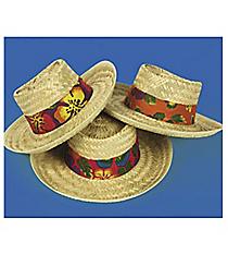 12 Straw Beach Hats With Hibiscus Hatband #4F-15/16