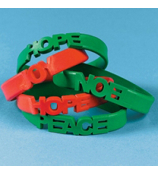 One Holiday Cutout Rubber Bracelet #4/3353-Assorted