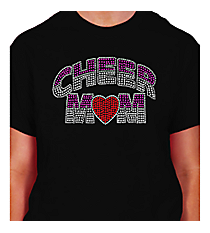 "Dazzling ""Cheer Mom"" Short Sleeve Relaxed Fit T-Shirt 7.5"" X 4.5"" Design 13892 * Choose Your Shirt Color"
