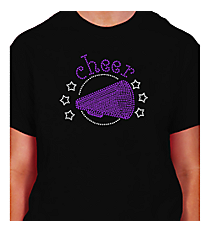 "Sparkling ""Cheer"" Short Sleeve Relaxed Fit T-Shirt 5.5"" x 7"" Design CD03 *Personalize Your Colors"