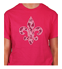"Radiant ""Silver and Black Fleur De Lis"" Short Sleeve Relaxed Fit T-Shirt 6"" X 7"" Design 13889 * Choose Your Shirt Color"