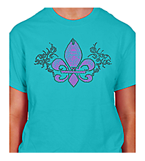 "Dazzling ""Fleur De Lis with Gray Swirls"" Short Sleeve Relaxed Fit T-Shirt 10.75"" X 6.5"" Design 13911 * Choose Your Shirt Color"