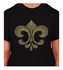 "Dazzling Gold Fleur de Lis Short Sleeve Relaxed Fit T-Shirt 10"" X 9.25"" Design 13935 * Choose Your Shirt Color"