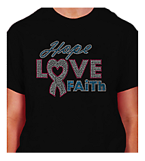 "Dazzling ""Hope, Love, Faith"" Short Sleeve Relaxed Fit T-Shirt 7"" X 8.75"" Design 14789 *Choose Your Shirt Color"