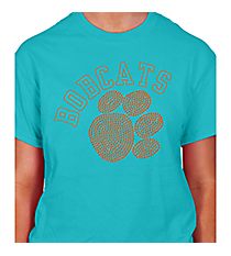 Orange Paw and Team Name Short Sleeve Relaxed Fit T-Shirt 14897 *Choose Your Team Name!