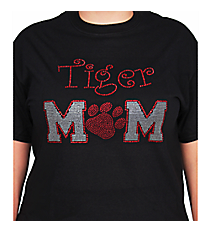 Team Mom and Paw Print Ladies Short Sleeve Fitted T-Shirt SP47