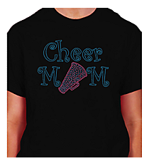 "Sparkling ""Cheer Mom"" Short Sleeve Relaxed Fit T-Shirt 7""x 9.5"" Design CD02 *Personalize Your Colors"