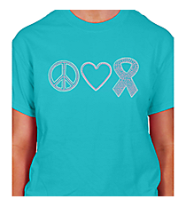 "Dazzling ""Peace, Love, and Hope"" Short Sleeve Relaxed Fit T-Shirt 4.25"" x 9.25"" Design PR03 *Choose Your Shirt Color"