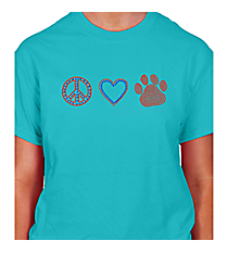 "Dazzling ""Peace, Love and Paw Print"" Short Sleeve Relaxed Fit T-Shirt 2.25""x 7.5"" Design SP17 *Personalize Your Colors"