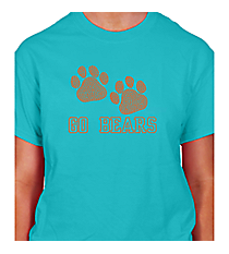 "Dazzling ""Paw Prints"" Short Sleeve Relaxed Fit T-Shirt 5"" x 8"" Design SP20 *Personalize Your Text and Colors"