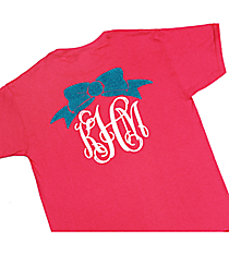 Bow Monogram Youth Short Sleeve Relaxed Fit T-Shirt *Customizable