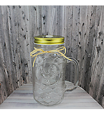 Embossed Glass Rooster 24 oz. Mason Jar with Straw #50095