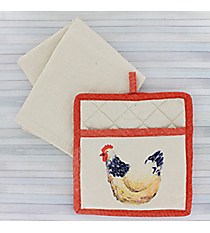 Hen Oven Mitt & Towel Gift Set #50187-HEN/RED
