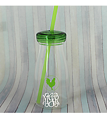 Green Rooster 12 oz. Clear Milk Bottle with Lid & Straw #50189-GREEN