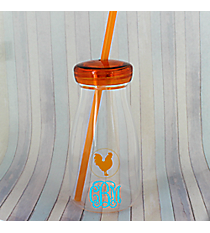 Orange Rooster 12 oz. Clear Milk Bottle with Lid & Straw #50189-ORANGE