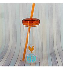 Orange Rooster 12 oz. Clear Milk Bottle with Lid & Straw #50189-ORANGE