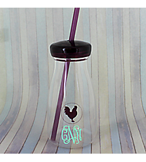 Purple Rooster 12 oz. Clear Milk Bottle with Lid & Straw #50189-PURPLE