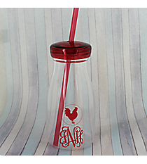 Red Rooster 12 oz. Clear Milk Bottle with Lid & Straw #50189-RED