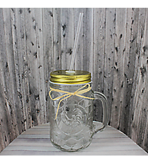 Embossed Glass Rooster 16 oz. Mason Jar with Straw #50231