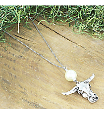 Silvertone Steer and Pearl Pendant Necklace #5029N-SO-IV