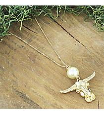 Goldtone Steer and Pearl Pendant Necklace #5029N-WG-IV