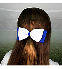 Royal Blue and White Pomchies PomBow #50313