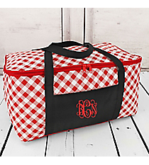 Red and White Gingham with Black Trim Insulated Basket with Lid #50352-RED