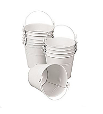 12 White Pails with Handles #52/43