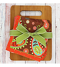 Chocolate Paisley Bamboo Cutting Board & Napkins Gift Set #52452