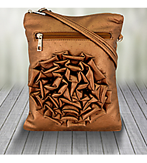 Bronze Ostrich Crossbody Bag with Flower #1497-52940S-BZ