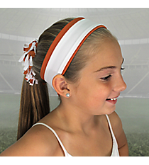 Burnt Orange and White Pomchies Spirit Band-it Headband #5306