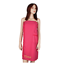 Women's Fuchsia Spa Wrap with Satin Ribbon Trim #5334