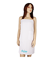 Women's White Spa Wrap with Satin Ribbon Trim #5334