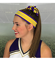 Purple and Yellow Gold Pomchies Spirit Band-it Headband #5335