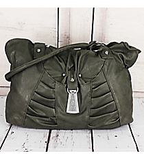 SALE! Ruched Gray Faux Leather Shoulder Bag #5368-GY