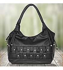 Black Leather Shoulder Bag with Python Accents #1484-5369-B-B