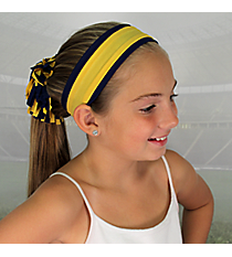 Navy and Yellow Gold Pomchies Spirit Band-it Headband #5389