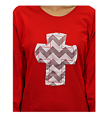 Frayed Cross Applique Long Sleeve Relaxed Fit T-Shirt *Customizable!