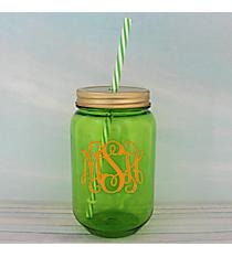 Green 24 oz. Mason Jar with Straw #55543-GREEN