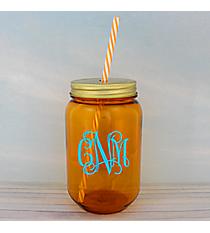 Orange 24 oz. Mason Jar with Straw #55543-ORANGE
