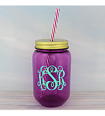 Purple 24 oz. Mason Jar with Straw #55543-PURPLE