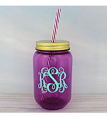 Purple 24 oz. Mason Jar with Straw #55543-PURPLE